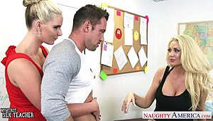 Buxom bright-haired shag teachers Phoenix Marie and Summer Brielle share shlong