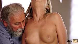 OLD4K. provoking natural blonde with ease seduces her old geography educator